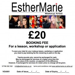 £20 EstherMarie makeup lesson or workshop booking fee